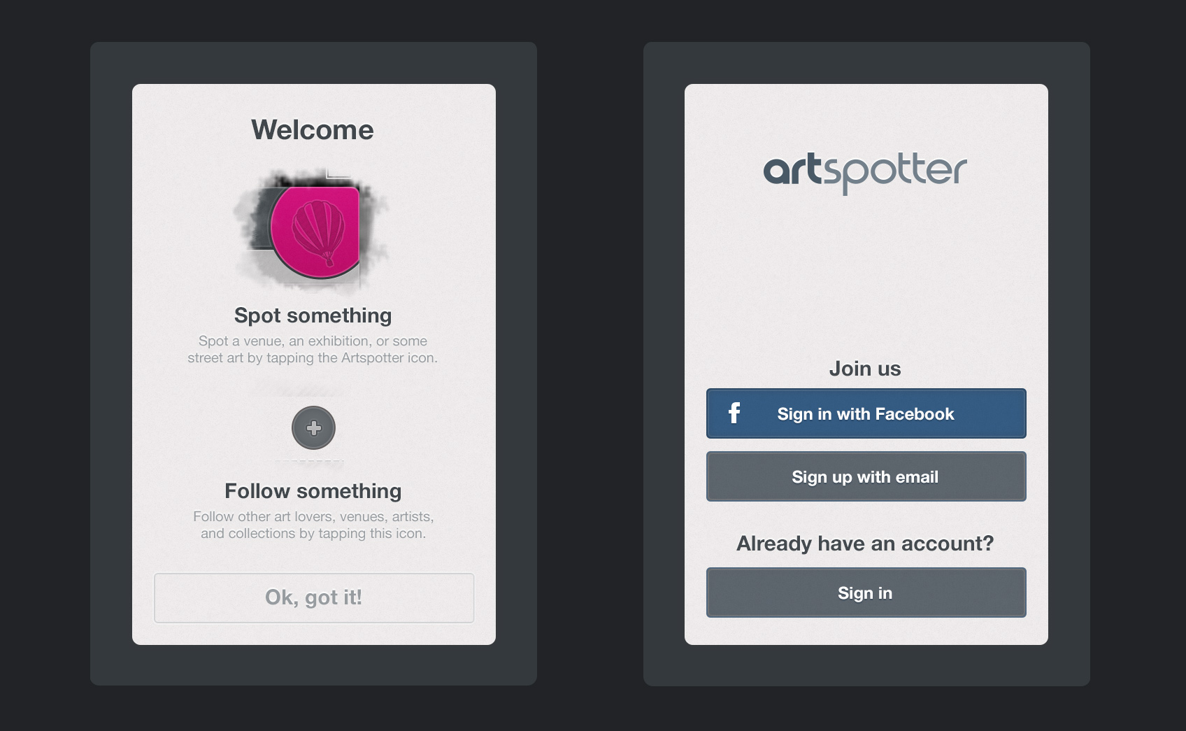 2 screens from the Artspotter iPhone app
